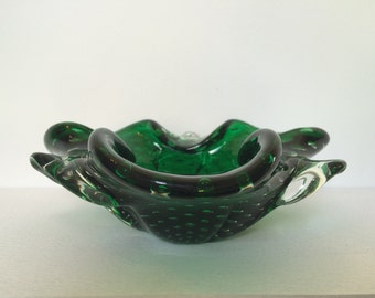 Vintage Emerald Green Sommerso Murano Glass Dish