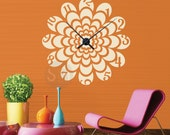 FLORAL BURST CLOCK  wall decals - Floral art vinyl cut out with mechanism by GraphicsMesh