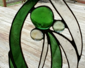 Stained Glass Sun Catcher: Green Waterfall