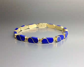 Lapis Lazuli bracelet with 18K gold perfect inlay work - gift idea - solid gold inlay work - artisan jewelry design - AAA Grade afghan Lapis