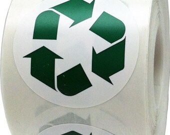 "Recycle Stickers - 1.5"" Inch Round Adhesive Labels - 500 Per Roll"