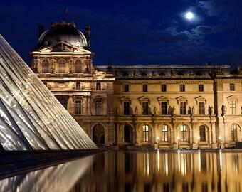 Paris photography, Louvre, Paris at night, full moon, blue hour, home decor, French wall art, Paris decor, fine art print