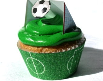 Soccer Cupcake Wrapper (Instant Download)
