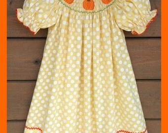 Pumpkin Smocked Bishop Dress ~ Yellow Polka Dot