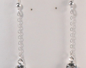 Sterling Silver and Swarovski Earrings - Silver Earrings (BD-537)