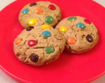 M&M cookies (3 cookies) for 18 inch dolls (1/3 scale miniature) -tiny polymer clay bakery creations! (American Girl, Our Generation, etc)