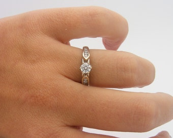 0.50 Carat Total Weight Diamond Engagement Ring. 14K White Gold. SI2 - I