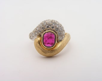 0.50 Carat Total Gem Weight Ruby and Diamond Cluster Ring. 18K Yellow Gold