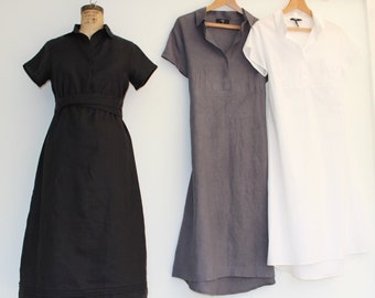 Linen shirt dress with cap sleeves. The top has pin-tuck details, with a very slight A-line skirt with hem stitching details.