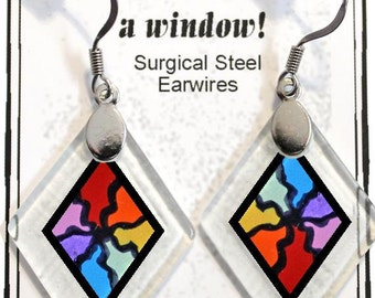 "Earrings ""Serendipity"" from rescued, repurposed window glass~Lightening landfills one tiny glass diamond at a time!"