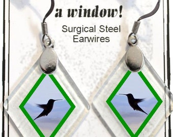 "Earrings ""Hummingbirds"" from rescued, repurposed window glass~Lightening landfills one tiny glass diamond at a time!"
