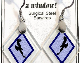 "Earrings ""Eagle Silhouettes (colors)"" from rescued, repurposed window glass~Lightening landfills one tiny glass diamond at a time!"
