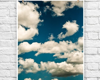 Clouds - nature blue sky photo photography landscape fine art poster wall art print cloud photograph nursery art white puffly home decor