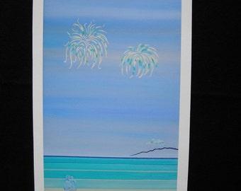 Dominican Blue - Fine Art Print on Watercolour Paper