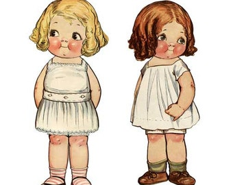 DIGITAL IMAGE - Vintage Paper Doll Clip Art - Dolly Dingle and Friend - Great for Craft Projects! Immediate Download!