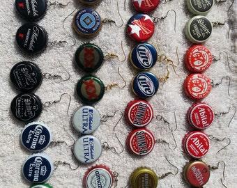 handmade custom beer bottle cap earrings shiner blue moon abita dos equis corona rolling rock. Black Bedroom Furniture Sets. Home Design Ideas