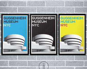 Guggenheim Museum NYC New York City Graphic Illustration Modern Bold Print