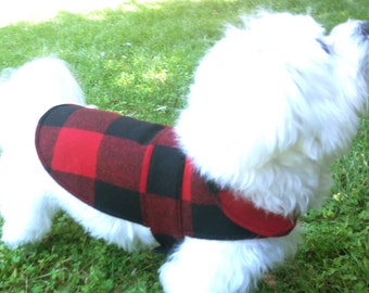 Buffalo Plaid Wool Dog Coat with Quilted Lining & Cotton Interlining - Red Dog Jacket