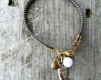 Cleopatra Charm Zipper Bracelet