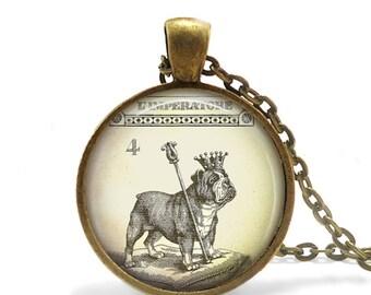 Bulldog Necklace Steampunk Alice In Wonderland Jewelry, Steampunk Dog Necklace Royal Dog Jewelry, English Bulldog Pendant, Wonderland Dog