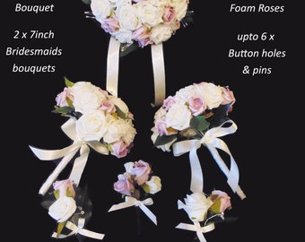 Bouquet Package.silk bouquet.  Brides bouquet, two bridesmaids, and 6 button holes.. only 1 package  available!