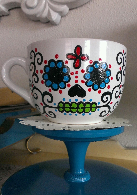 Hand Painted Sugar Skull Mug / Dia De Los Muertos Mug Made To