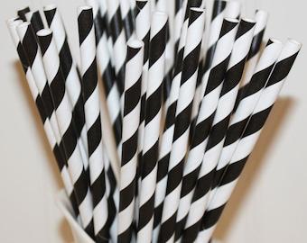 Paper Straws, 25  Black Stripe Paper Drinking Straws, Black Paper Straws, Wholesale Discount, Made In USA, Fun Paper Straws, Sip Stiicks