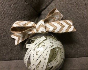 Custom Wedding Song Ornament- Capture a memory or your favorite poem or lyrics in a unique way!