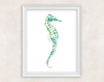 Seahorse Art - Watercolor Print - Ocean - Nautical - Home Decor - Wall Art 8x10 PRINT - Item #705A
