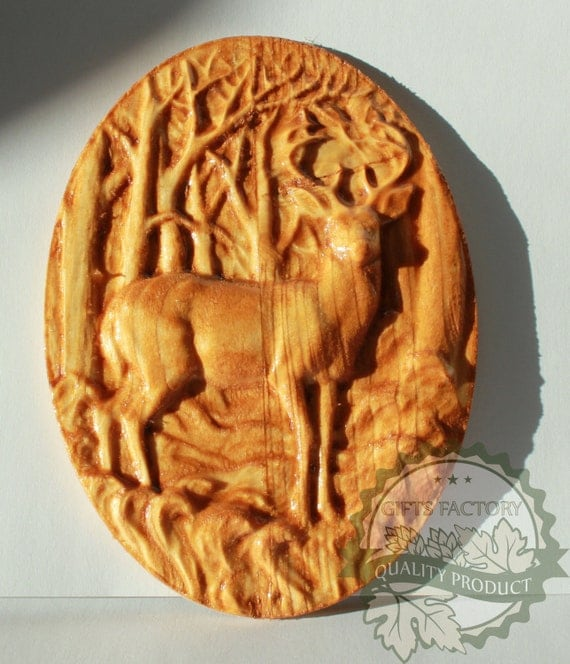 Items similar to deer in the woods d wood carving wall
