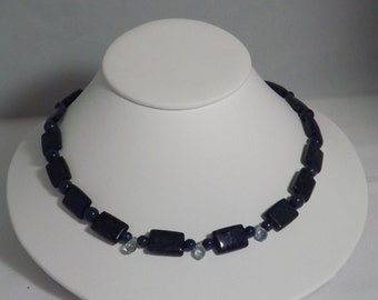 Lapis Lazuli and blue crystal necklace.