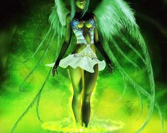 The Coming of Taarna, Original fairy art print, Open edition art print, fantasy fine art print, green fairy, mystical art