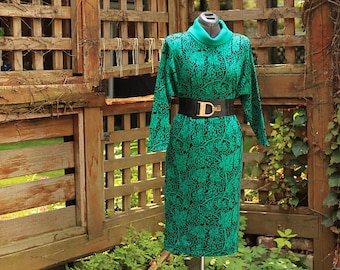 Vintage 1980's St Michael Kelly Green and Black Cowl Neck Tunic Sweater Dress