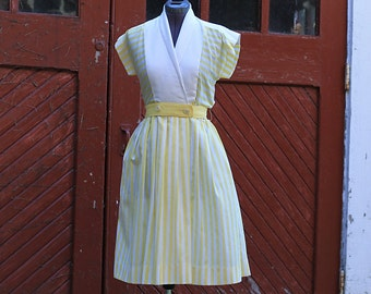 Vintage 1980's 50s Style Yellow and White Cotton Striped Joan Sparks for Elizabeth Barrett Petites Dress