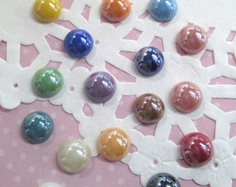 Round Pearlized Glass Cabochons, 20 Cute 9.5mm Cabs