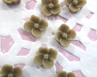 Brown 10mm Flower Cabochons, Small Cherry Blossom Cabs