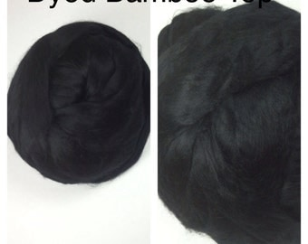 Dyed Bamboo Top Black / Black Bamboo Roving Spinning / Dyed Bamboo Felting / 2oz 4oz 8oz