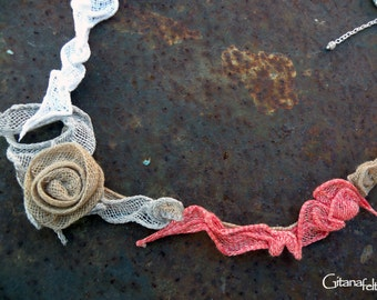 Light Grey and Orange Linen Necklace