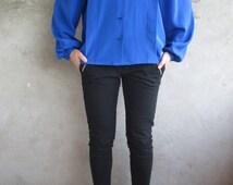 Vintage 1980s Cobalt Blue Blouse, Vintage Long Sleeves Blouse from 1980', Vintage Blue Blouse, puffy sleeves, 80's fashion - Size C34, UK 8