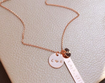 Customizable Wedding Date Necklace   Rose Gold Date Necklace   Date Bar Necklace   Roman Numeral Vertical Bar Necklace