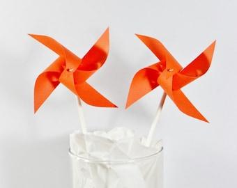 Pinwheels In Orange (12) Paper Pinwheels For Birthday Party Baby Shower Bride and Bridal Shower Wedding Party Favors Orange Wedding Orange