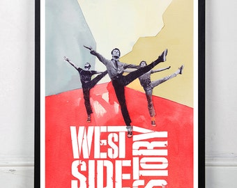 WEST SIDE STORY, Original Art, Minimalist Movie Poster Print 13 x 19""