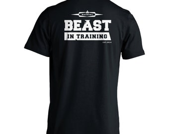 Beast In Training Men's T-Shirt - Gym Exercise Crossfit Weight Lifting Short Sleeve Shirt Black 100% Cotton
