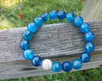 Royal Blue  Agate Beaded Stretch Bracelet & Pave Shamballa Rhinestone Accent Bead Genuine Blue Agate Beaded Bracelet Stacking Bracelet B0024