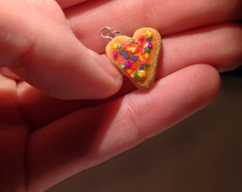 Heart Sugar Cookie Pendant with Pink Icing & Sprlnkles Charm