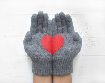 VALENTINE'S DAY GIFT, Heart Gloves, Grey Gloves, Red Heart, Special Gift, Valentine Gift Idea, Winter Gift, Gift For Her, Love Gift, Hearts