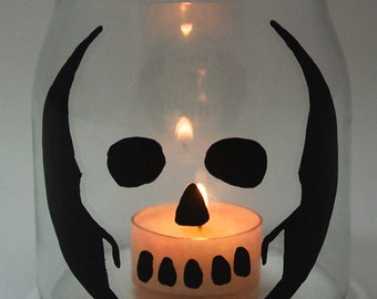 Skull Hand Painted Candle Holder/Jar