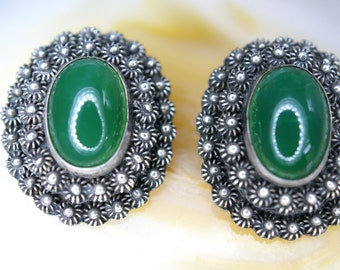 Sterling and Green Glass Clip Earrings