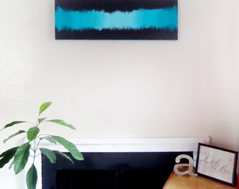 Charcoal and Turquoise Ombre Abstract Painting, Wall Art, Home Decor Ombre Art  ON SALE!!