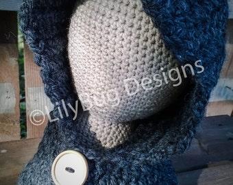 Crochet Hooded Cowl - Dark Gray - Toddler